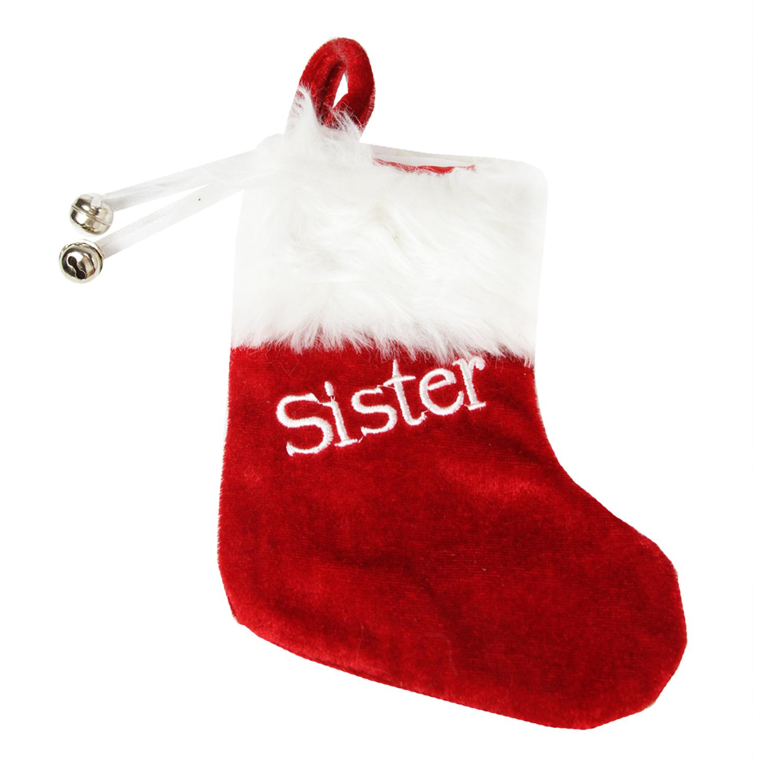 """7"""" Red & White """"Sister"""" Embroidered Mini Christmas Tree Stocking"""