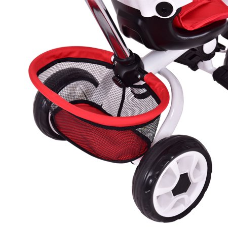 Gymax Red Kids Baby Stroller Tricycle 4-In-1 Detachable Learning Toy Bike w/ Canopy Basket - image 3 of 8