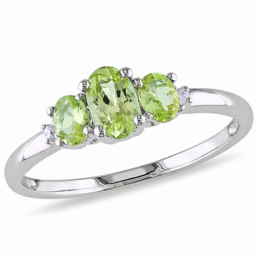 Tangelo 4/5 Carat T.G.W. Peridot and Diamond-Accent 10kt White Gold Three-Stone Ring