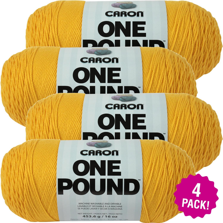Caron One Pound Yarn - Sunflower, Multipack of 4