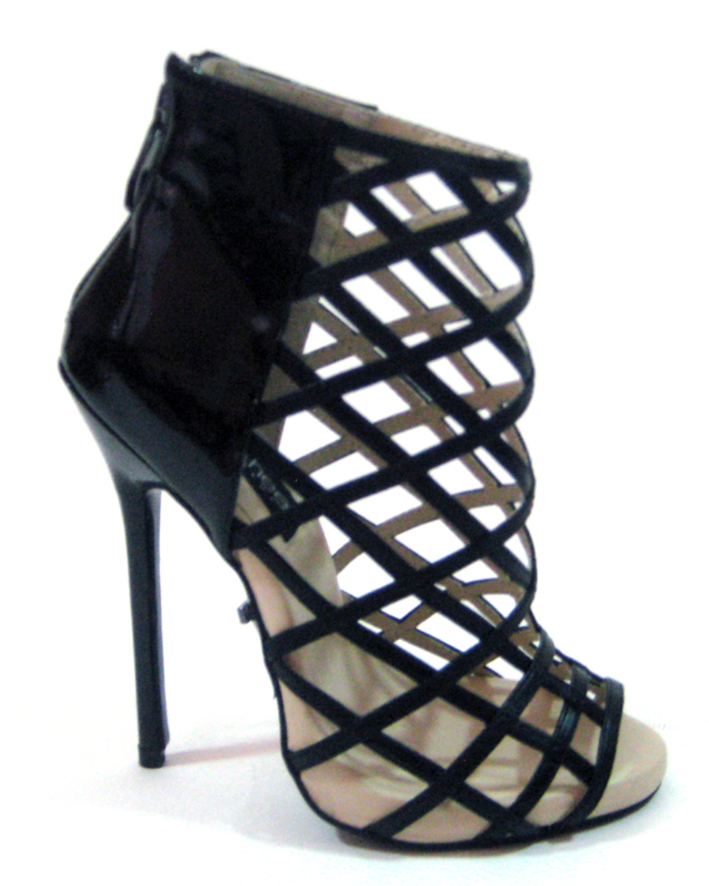 "Highest Heel Womens 5"" Bootie Birdcage Rear Zipper Black Patent PU Shoes"