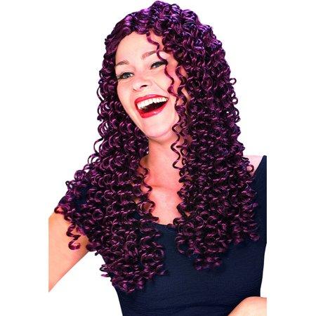 Women's Burgundy Purple Long Spiral Fantasy Costume Wig