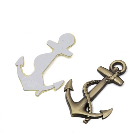 Car Bronze Tone Metal Boat Anchor Pattern Adhesive Screw Mounting Decal Sticker