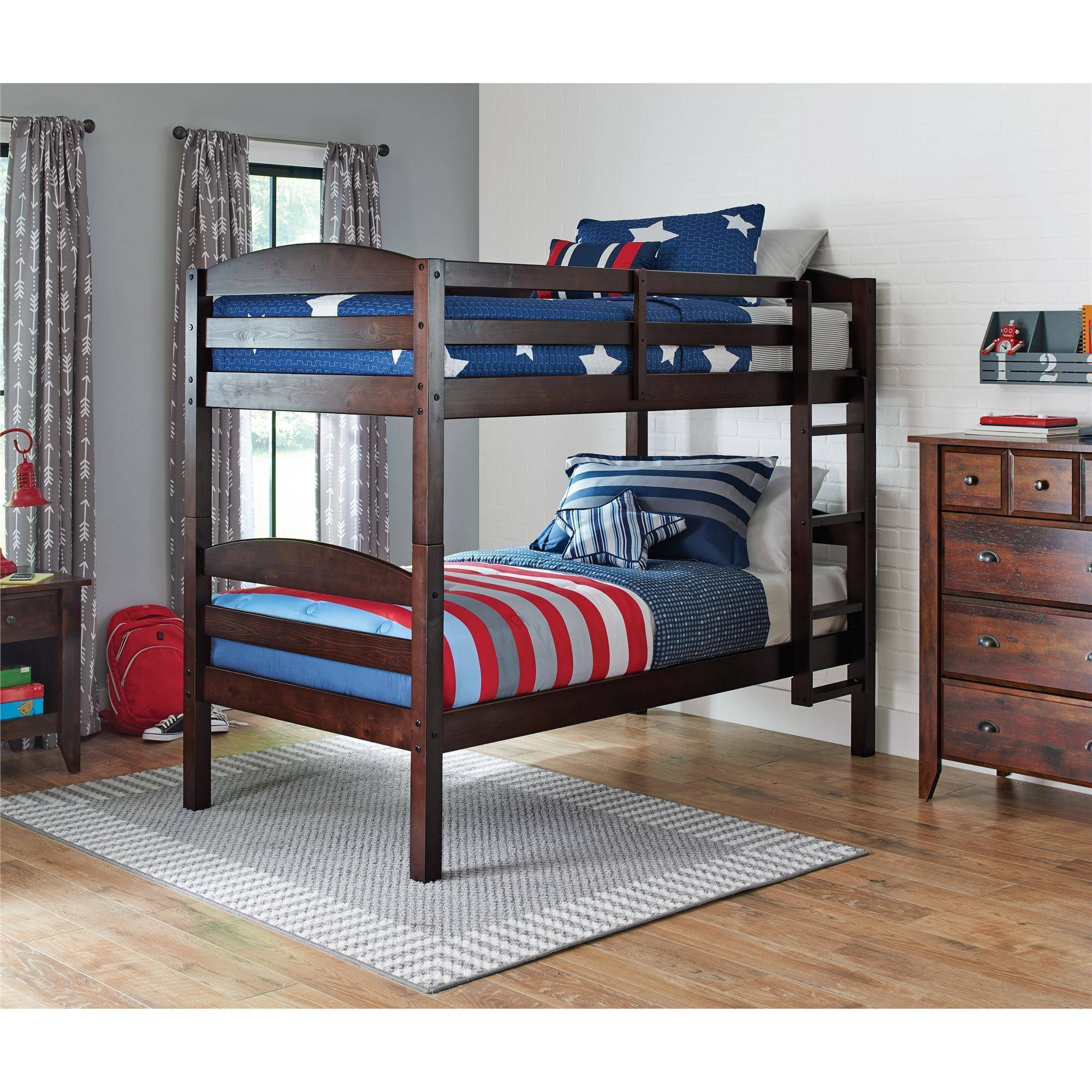 Better Homes and Gardens Leighton Twin Over Twin Wood Bunk Bed, Multiple