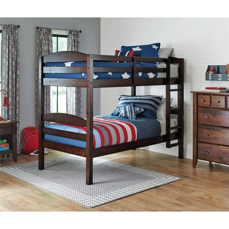 Better Homes & Gardens Leighton Twin Over Twin Wood Bunk Bed, Multiple