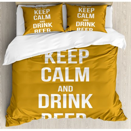 Keep Calm King Size Duvet Cover Set, Drink Beer Poster Design with Graphic Foamy Glasses Leisure Time Fun Pub Print, Decorative 3 Piece Bedding Set with 2 Pillow Shams, Amber White, by