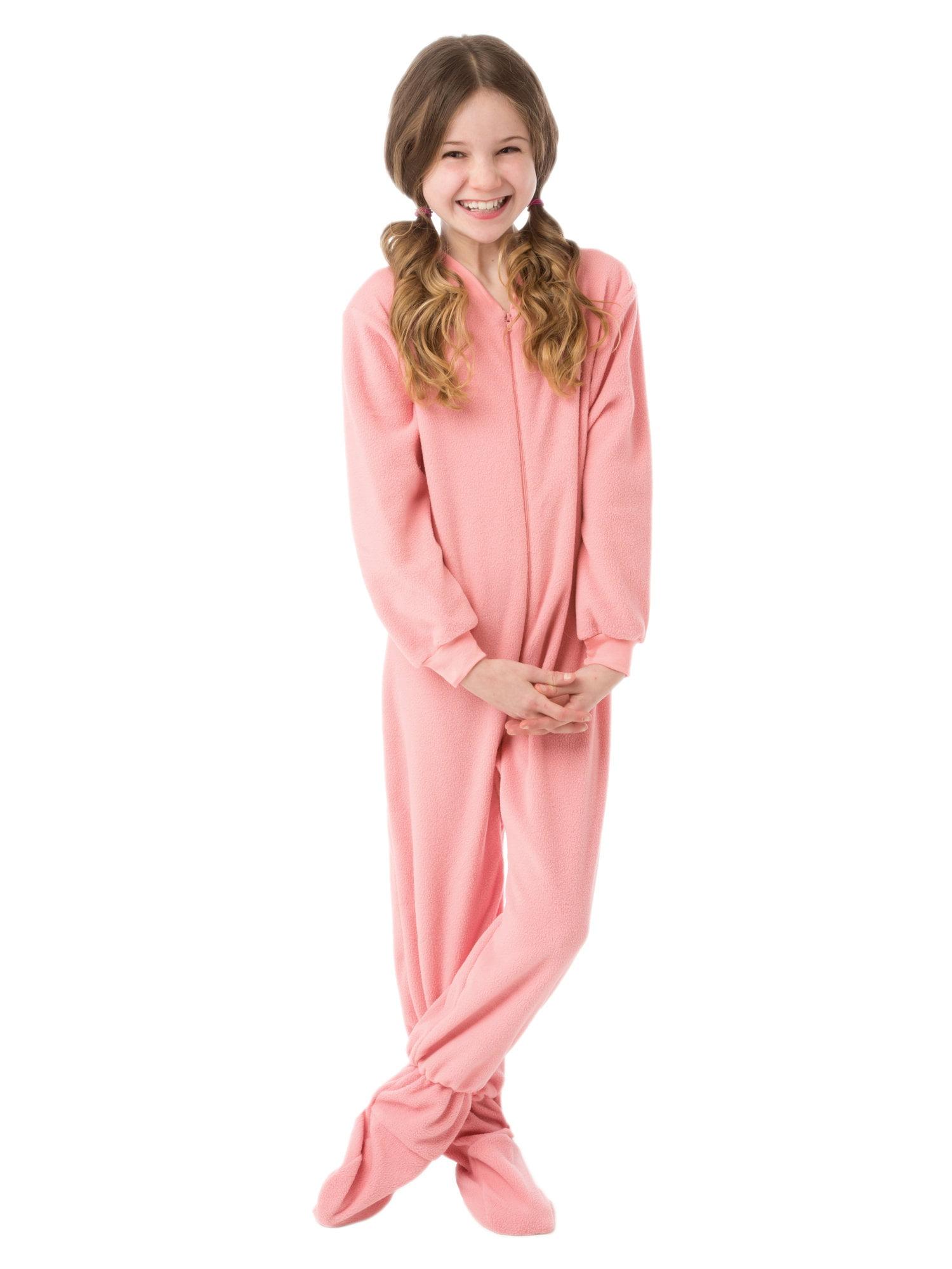 1ed286bc61a6 Big Feet Pjs Big Girls Kids Pink Fleece Footed Pajamas One Piece ...