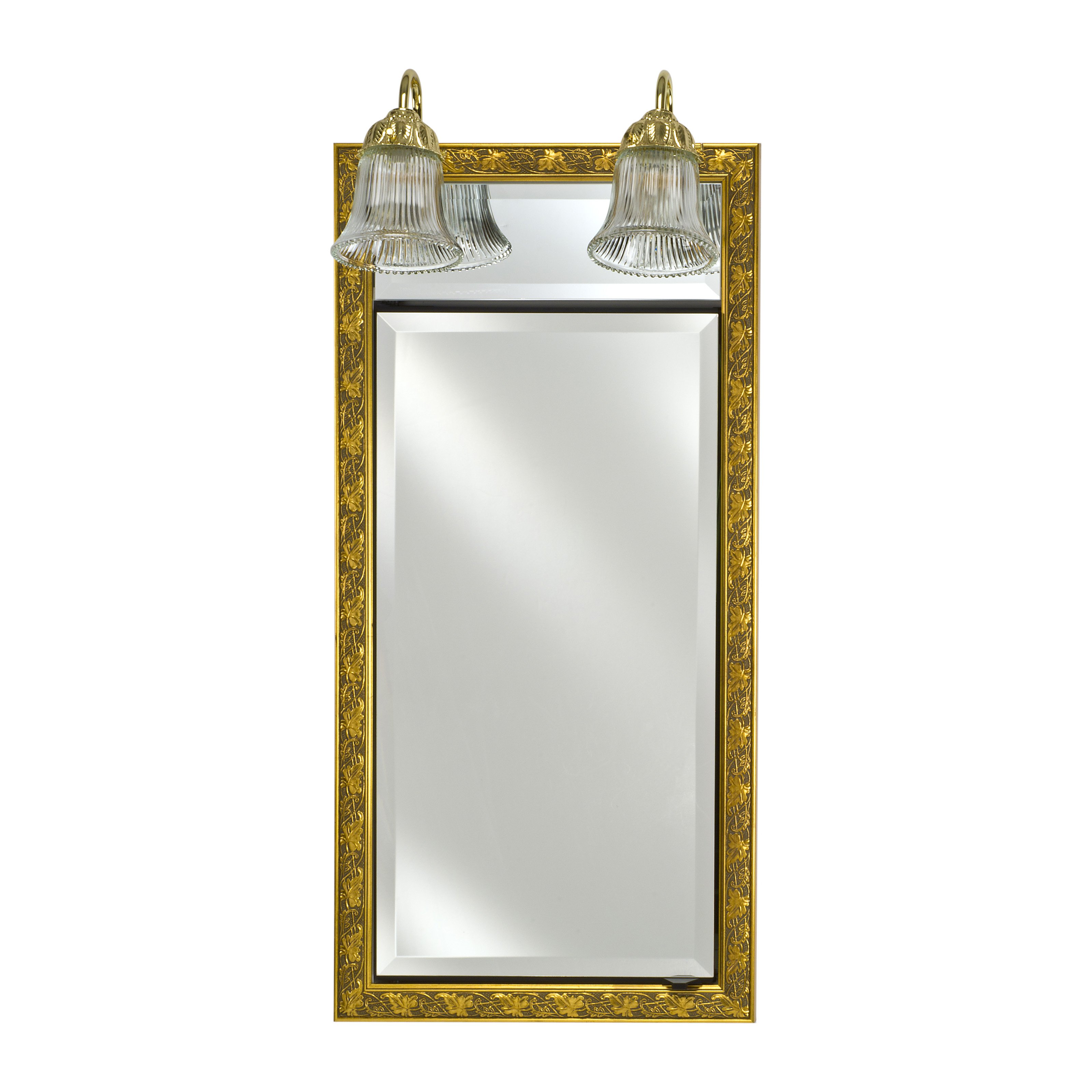 Afina Signature Traditional Lighted Single Door 24W x 34H in. Recessed Medicine Cabinet