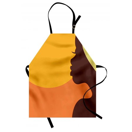 - African Woman Apron Teenage Girl Pretty Face Profile Abstract Sunset Calm Evening, Unisex Kitchen Bib Apron with Adjustable Neck for Cooking Baking Gardening, Orange Salmon Dark Brown, by Ambesonne