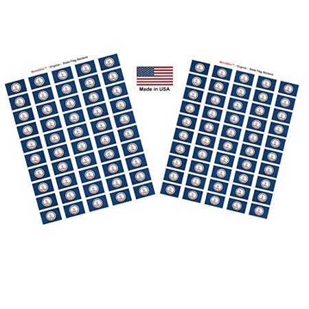 "Made in USA! 100 Virginia 1.5"" x 1"" Self Adhesive State Flag Stickers, Two Sheets of 50, 100 Virginia Sticker Flags Total"