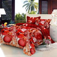 Christmas Santa Bedding Set Polyester 3D Printed Duvet Cover + 2pcs Pillowcases + Bed Sheet Set Christmas Bedroom Decorations--King Size