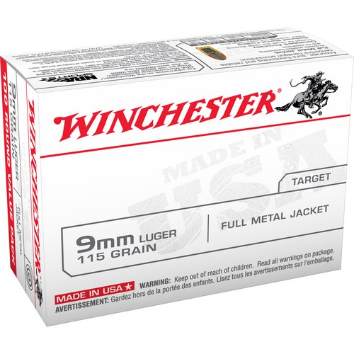 Winchester 9mm Luger 115-Grain Full Metal Jacket Bullets, 100 Round Pack