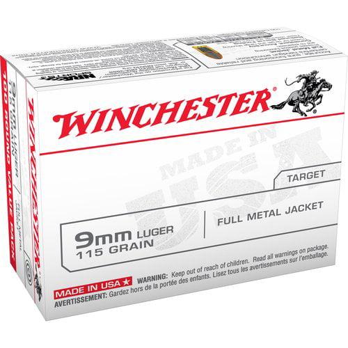Winchester 9mm Luger 115-Grain Full Metal Jacket Bullets, 100ct