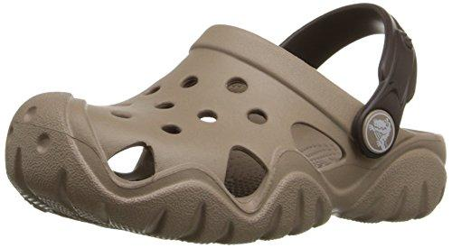 Crocs Boy's Swiftwater Clog Black Volt Green Ankle-High Flat Shoe 8M by Crocs