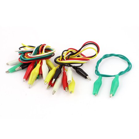 10pcs Assorted Color Dual Ended Test  Alligator Clip Jumper Probe Cable 52cm