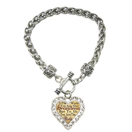 Grandma You Are The World To Us Silver Toggle Bracelet Heart (Tiffany Style Heart Toggle Bracelet)