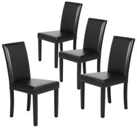 4pcs Dining Room Chairs High Back Padded Kitchen Chairs Black
