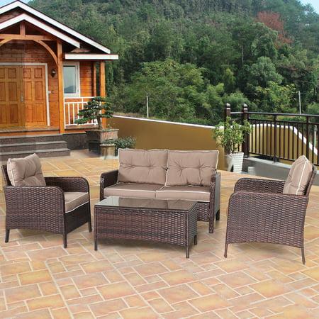 Costway 4 pcs outdoor patio rattan wicker furniture set for Outdoor mobel rattan