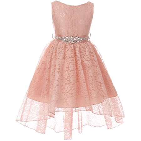 Ivory Lace Dress For Girls (Big Girls Floral Lace High Low Rhinestones Special Occasion Flower Girl Dress Blush 10)