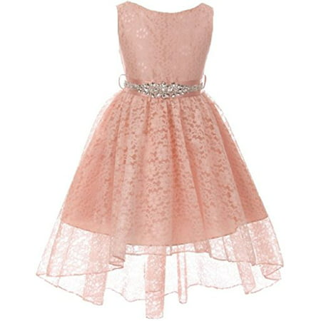 Big Girls Floral Lace High Low Rhinestones Special Occasion Flower Girl Dress Blush 10 (M3B6K0CB) (Lace Flower Girl Dresses Vintage)