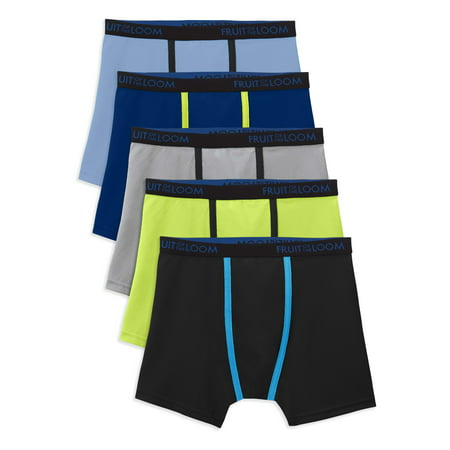 Fruit Of The Loom Breathable Lightweight Boxer Briefs, 5 Pack Sizes 6/8 - 18/20