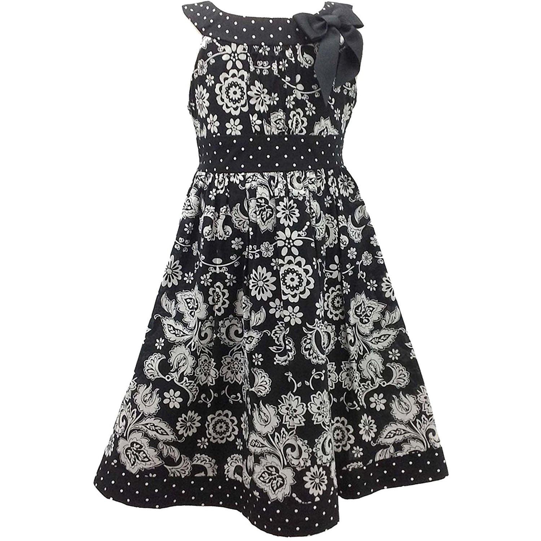 Bonnie Jean Black White Floral and Dot Print Bow Neckline...
