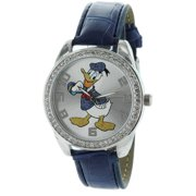 Donald Duck Watch With Stone Bezel and GenuineLeather Strap