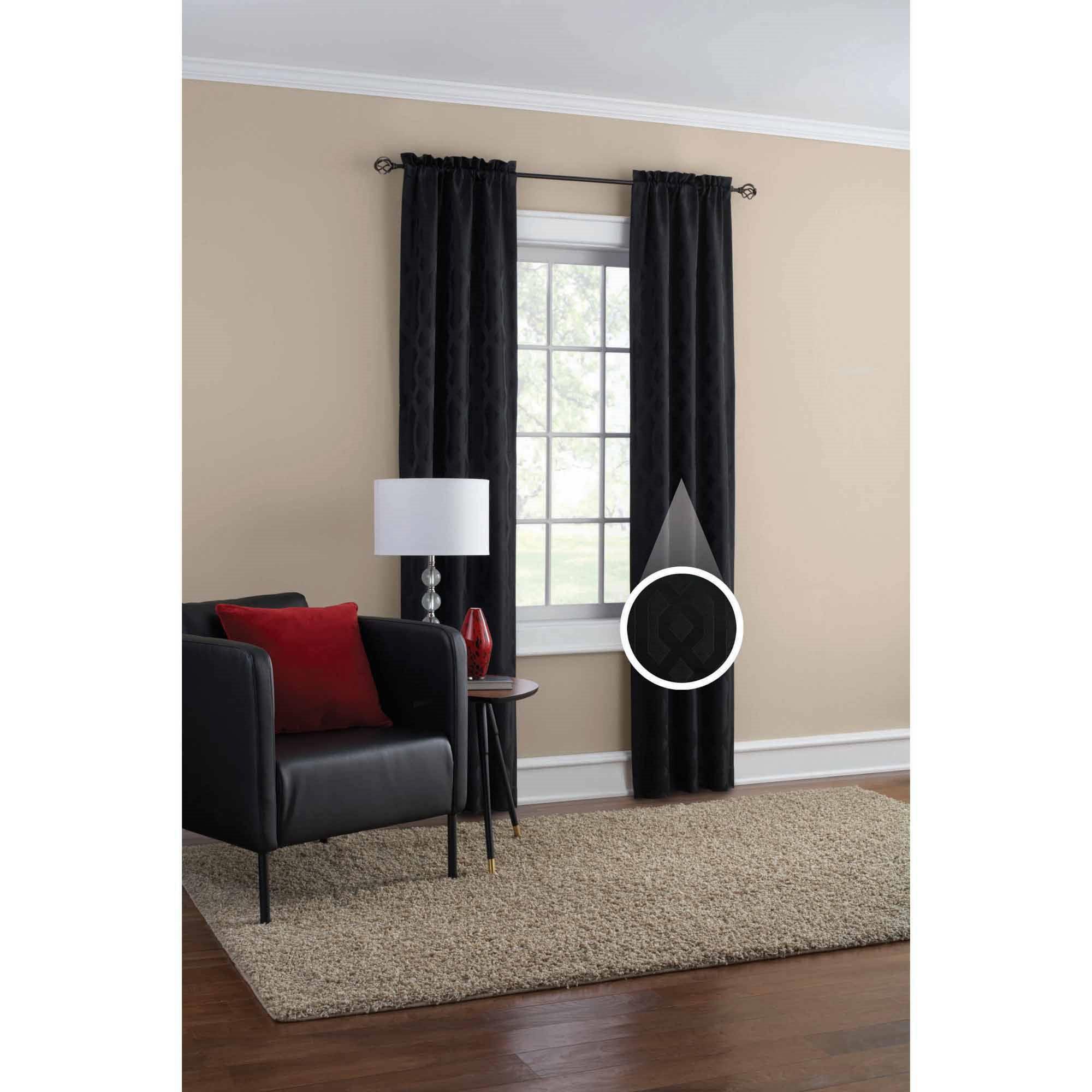 Mainstays Geometric Jacquard Window Curtain Panel Set Of 2 Walmart Com