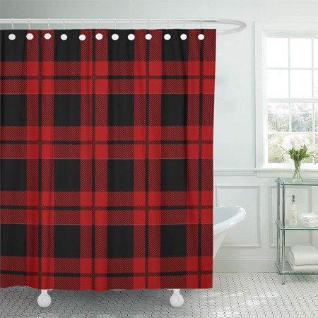 PKNMT Red Black Lumberjack Plaid Pattern Check Masculine Buffalo Lumber Flannel Checkered Bathroom Shower Curtain 66x72 inch ()