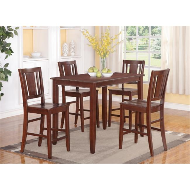 East West Furniture BUCK5-MAH-W 5 -Piece Buckland Counter Height Table 30 in. x48 in. & 4 Stools with Wood seat in Mahogany Finish