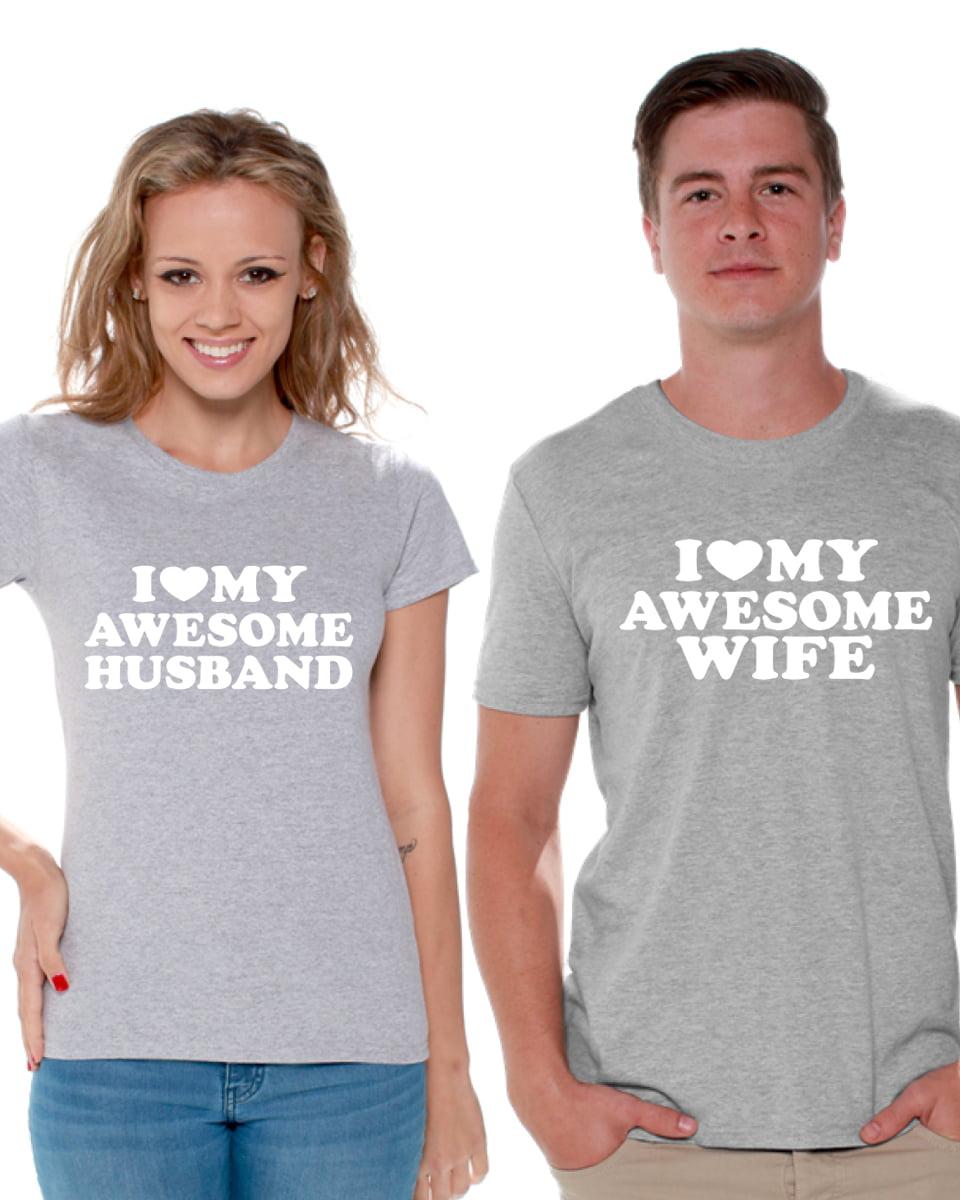 Couple T-Shirt I Love My Awesome Husband I Love My Awesome Wife Couple Tee