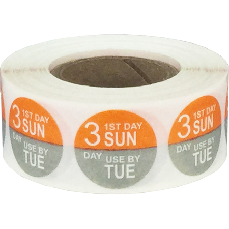 Sunday Through Tuesday Day Dots Food Rotation Labels Orange and Gray 3/4 Inch 500 Adhesive Stickers