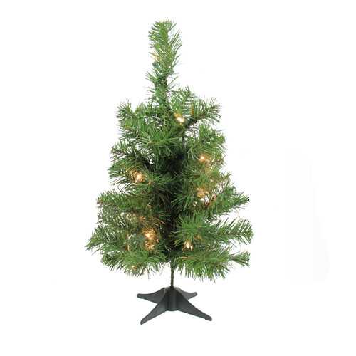 Northlight Seasonal 18'' Green Fir Artificial Christmas Tree with 20 Clear Lights with Stand
