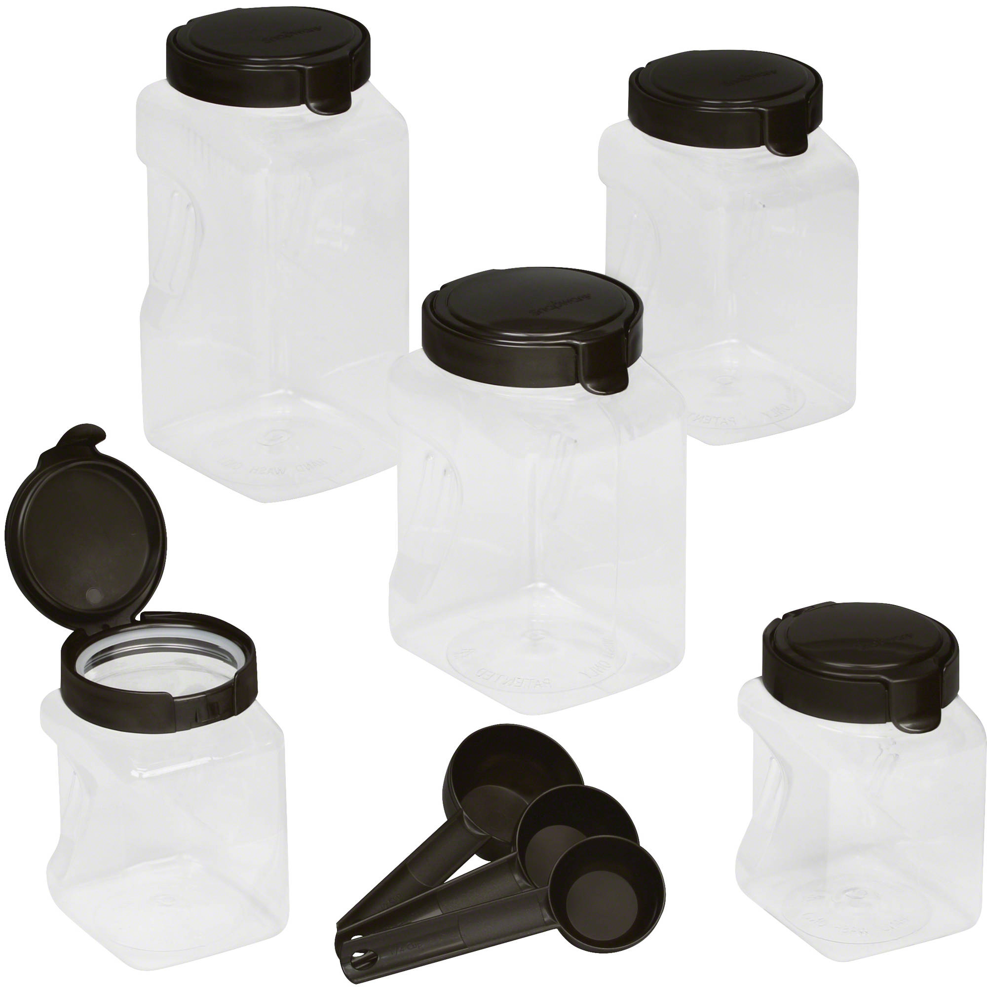 plastic canisters snapware airtight 10 piece plastic canister set warm metallic
