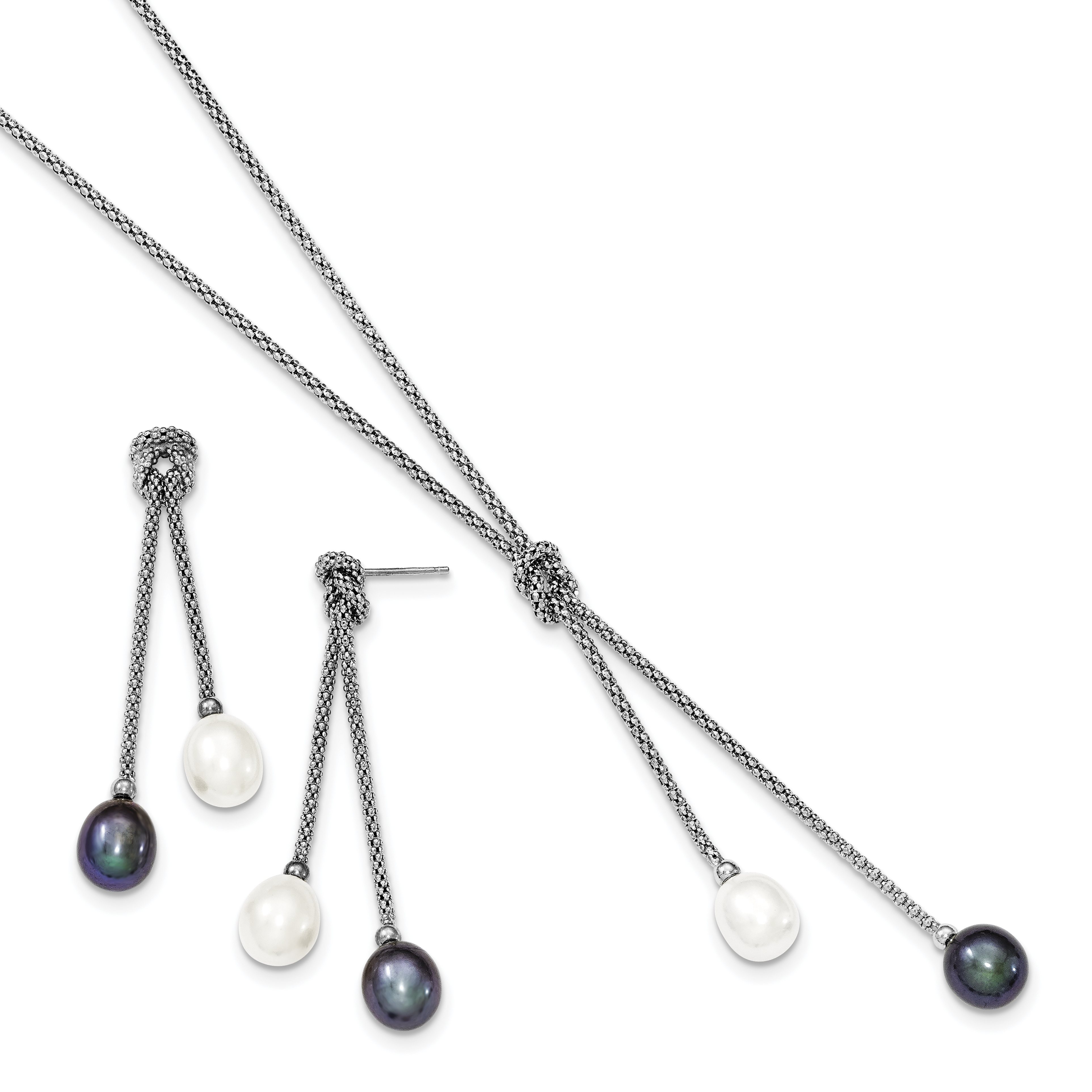 925 Sterling Silver Rhodium FWC Pearl Knot 18in Necklace /& Earring Set