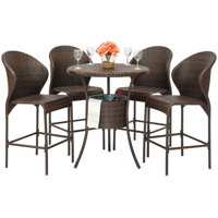 Best Choice Products 5-Piece Wicker Patio Bistro Table Set w/ Ice Bucket, Brown