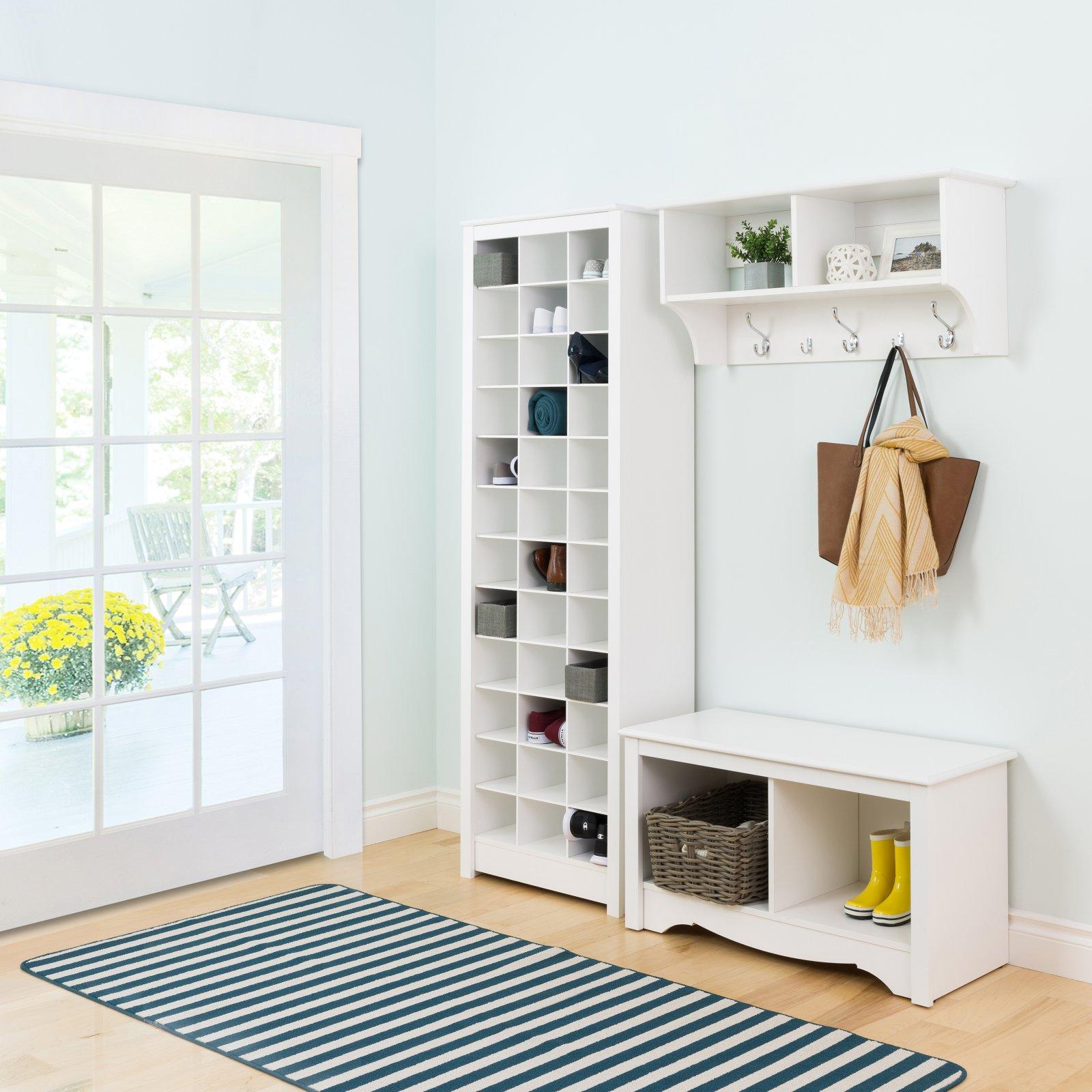 Tall Large Shoe Storage Cabinet Espresso Wood Cube Saver