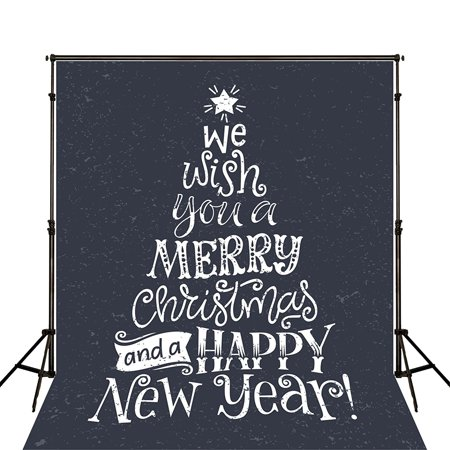 HelloDecor Polyster New Year Backdrops for Photography White Snow Falling Christmas Photo Sign Background 5x7ft Holiday Backdrop - Christmas Backgrounds For Photography