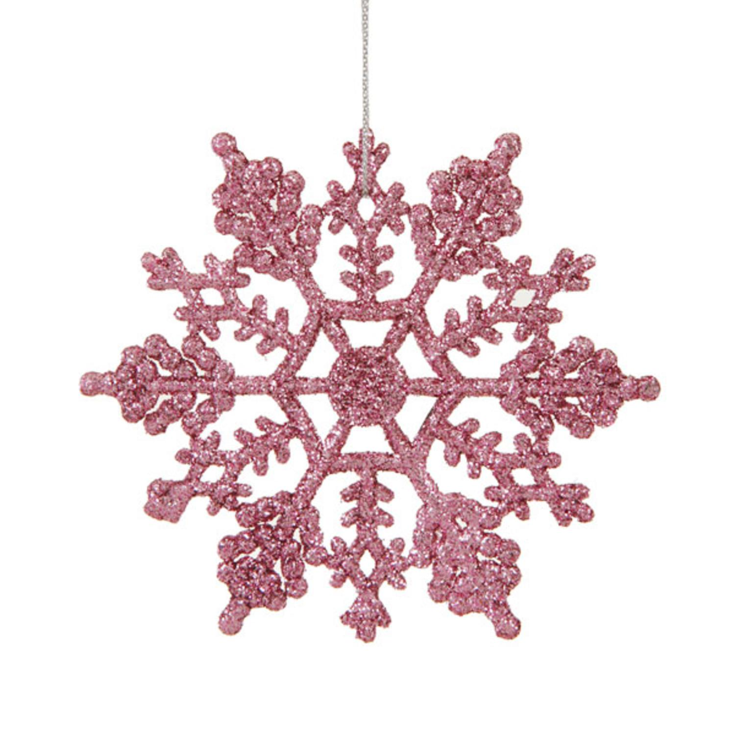 Club Pack of 24 Mauve Pink Glitter Snowflake Christmas Ornaments 4""