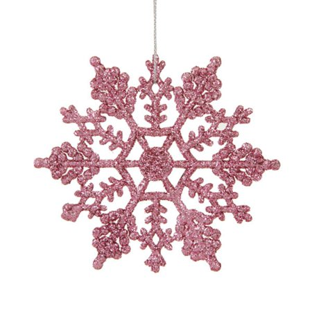 club pack of 24 mauve pink glitter snowflake christmas ornaments 4