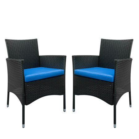 Ktaxon Patio Dining 2PCS Black Rattan Wicker Chairs with Blue Cushion ()