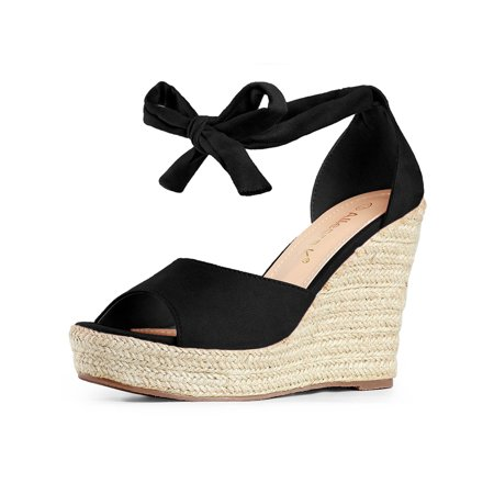 - Women's Espadrilles Tie Up Ankle Strap Wedges Sandals Black (Size 7)