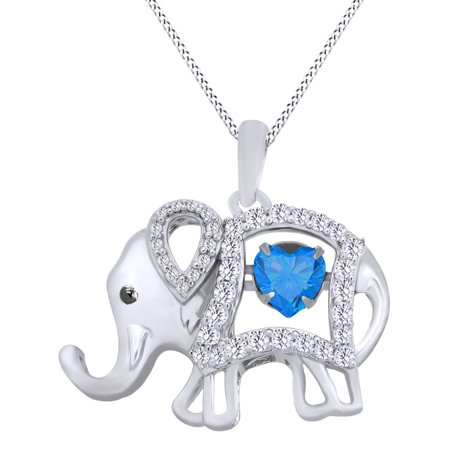 - Round Cut Cubic Zirconia Elephant Floater Pendant Necklace In 14K White Gold Over Sterling Silver By Jewel Zone US