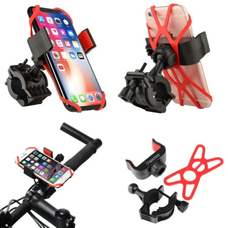 Insten Bicycle Motorcycle Bike Phone Holder Mount Stand Bracket Rack Handlebar with Secure Rubber Strap Grip & 360 Adjustable Ball Head Mount Universal Bike iPhone Samsung ZTE HTC Sony LG (Mounted Bale)