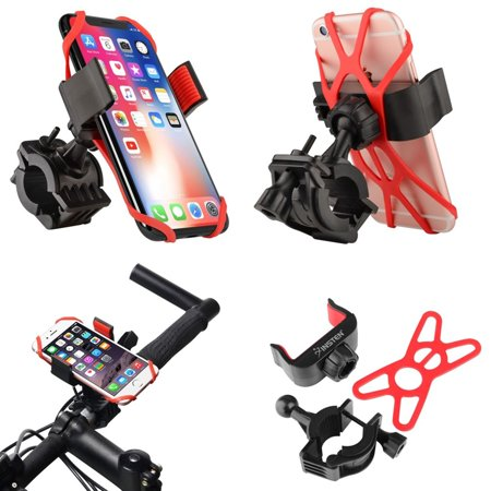 Insten Bicycle Motorcycle Bike Phone Holder Mount Stand Bracket Rack  Handlebar with Secure Rubber Strap Grip & 360 Adjustable Ball Head Mount