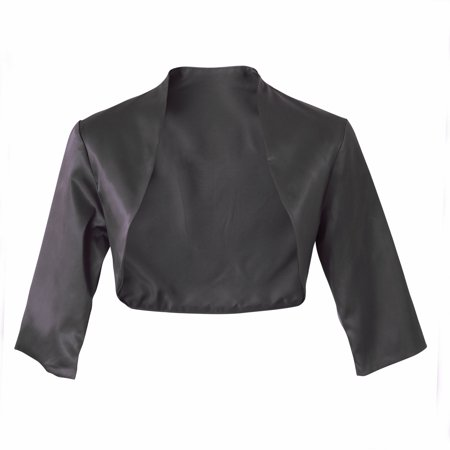Faship Satin 3/4 Sleeve Bolero Shrug Cardigan Top
