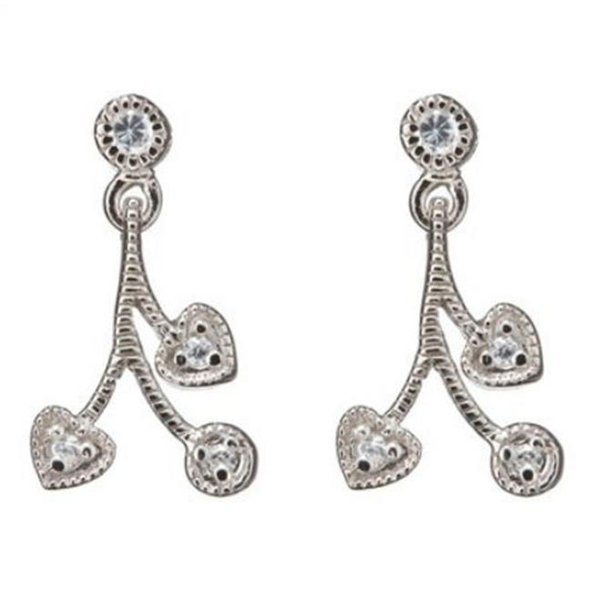 CZ Ear598 C. Z.  Rhodium Heart And Round C. Z.  Post - . 925 - Sterling Silver Earring