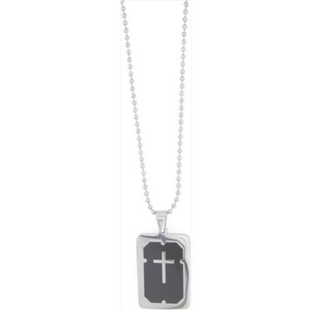 Pendant-Black Dog Tag W/Cross On 18  Ball Chain](Military Dog Tags For Sale)