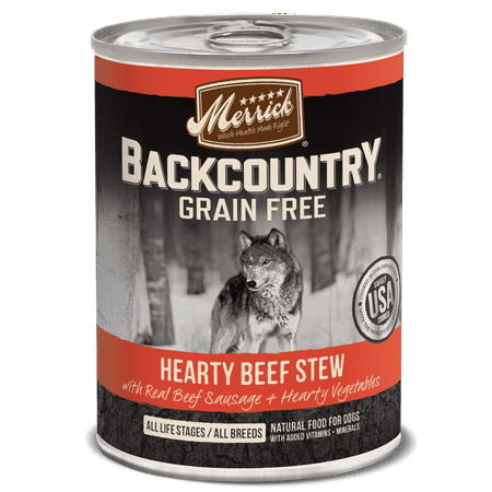 Merrick Backcountry Grain-Free Hearty Beef Stew Wet Dog Food, 12.7 Oz, 12 (Merrick Beef)