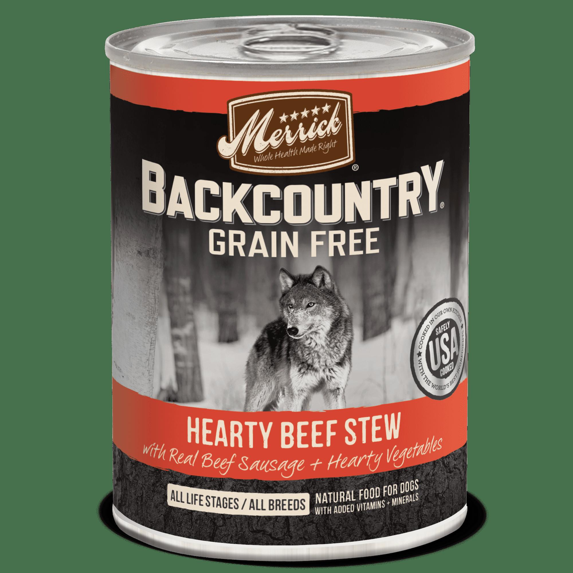 Merrick Backcountry Grain-Free Hearty Beef Stew Wet Dog Food, 12.7 Oz, 12 Ct